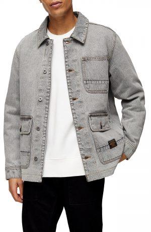 Men's Topman Denim Chore Coat, Size X-Small - Grey
