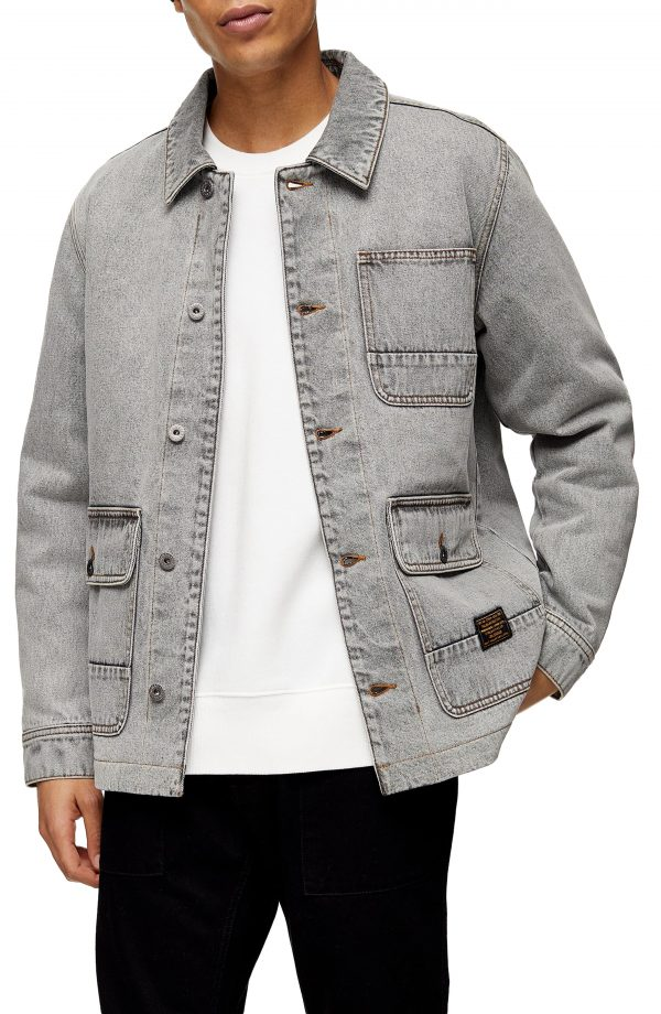 Men's Topman Denim Chore Coat, Size X-Small - Grey