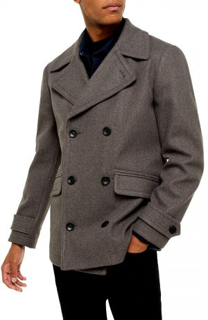 Men's Topman Double Breasted Peacoat, Size Large - Grey