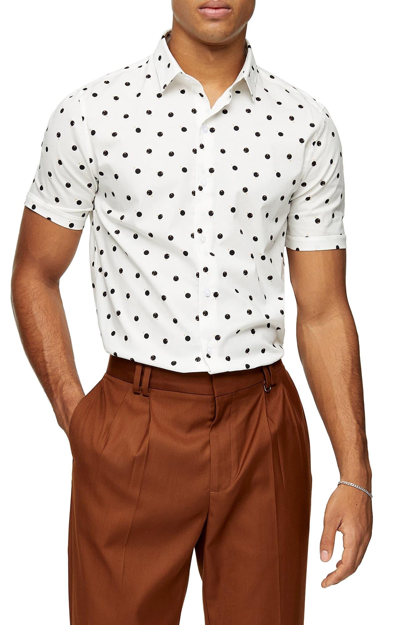 Men's Topman Double Dot Short Sleeve Button-Up Shirt, Size Large - Beige