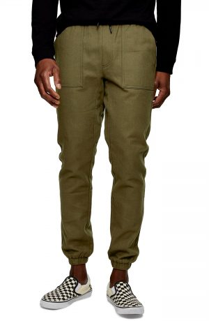 Men's Topman Flannel Skinny Joggers, Size 38 x 34 - Green