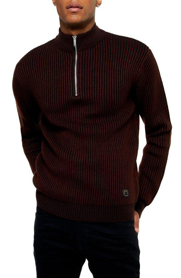 Men's Topman Half Zip Plaited Mock Neck Sweater, Size Large - Burgundy