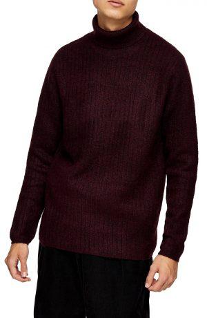 Men's Topman Harlow Ribbed Turtleneck Sweater, Size Large - Burgundy