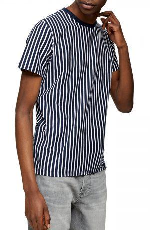 Men's Topman Harry Vertical Stripe T-Shirt, Size Large - Blue