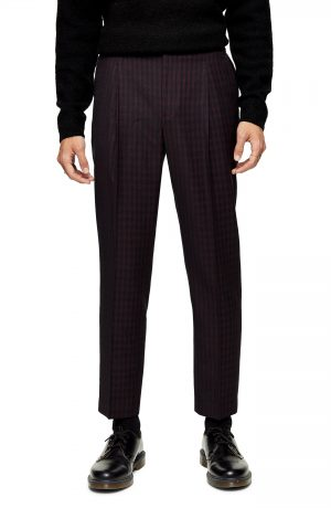 Men's Topman Houndstooth Tapered Fit Trousers, Size 32 x 32 - Burgundy