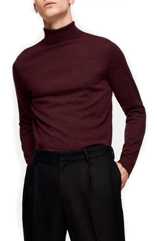 Men's Topman Merino Wool Turtleneck Sweater, Size Small - Burgundy