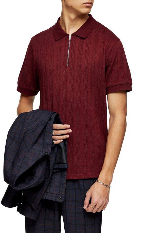 Men's Topman Mesh Stripe Zip Polo, Size Large - Burgundy
