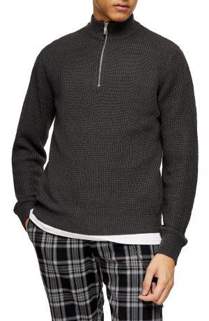 Men's Topman Quarter Zip Mock Neck Sweater, Size Medium - Grey