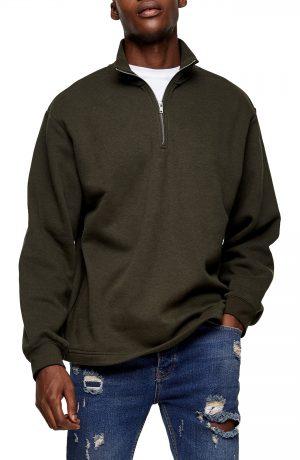 Men's Topman Quarter Zip Pullover, Size Large - Green