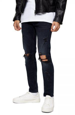 Men's Topman Ripped Skinny Fit Jeans, Size 38 x 34 - Blue
