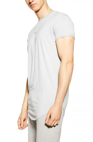 Men's Topman Scotty Longline Slim Fit T-Shirt, Size XX-Small - Grey