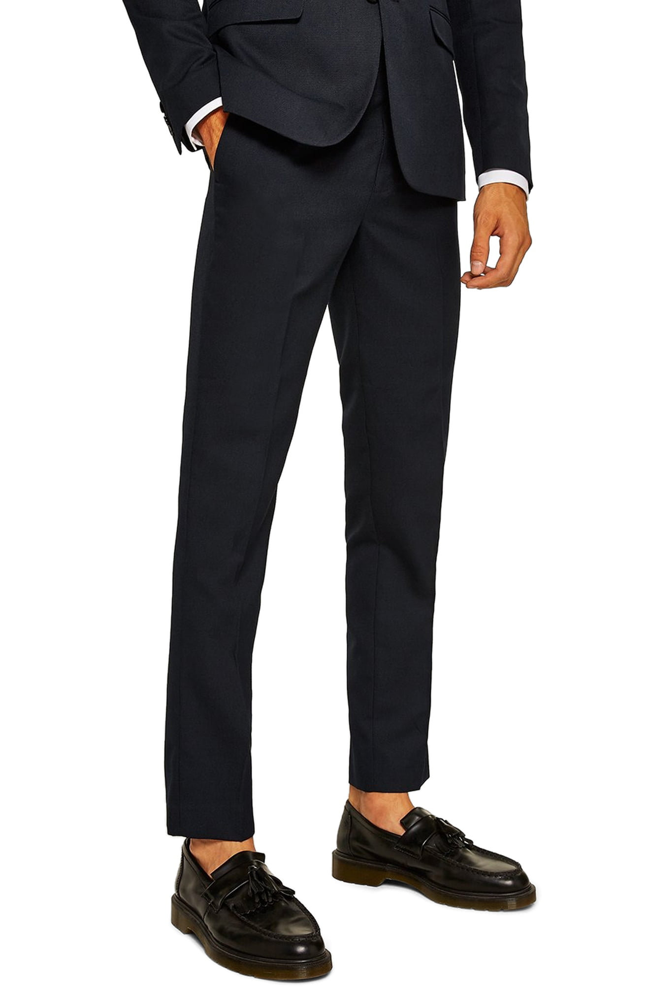 Men's Topman Skinny Fit Textured Dress Pants, Size 34 x 30 - Blue
