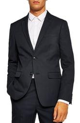 Men's Topman Skinny Fit Textured Suit Jacket, Size 36L - Blue