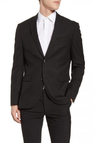 Men's Topman Skinny Fit Textured Suit Jacket, Size 42R - Black