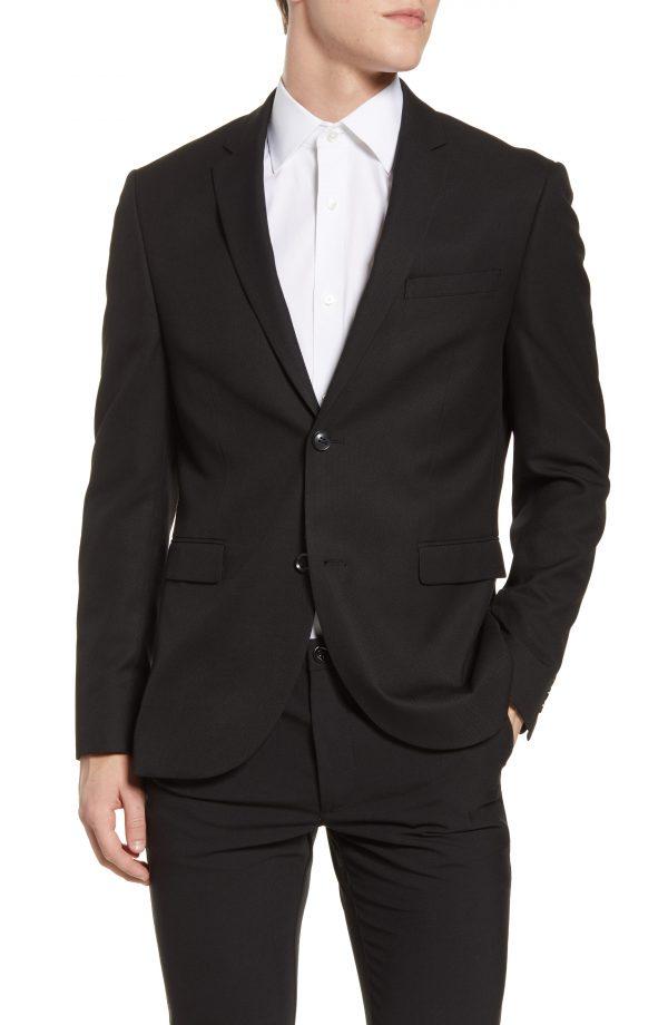 Men's Topman Skinny Fit Textured Suit Jacket, Size 42R - Black