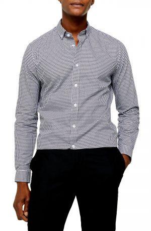 Men's Topman Slim Fit Gingham Check Button-Down Shirt, Size Large - Black