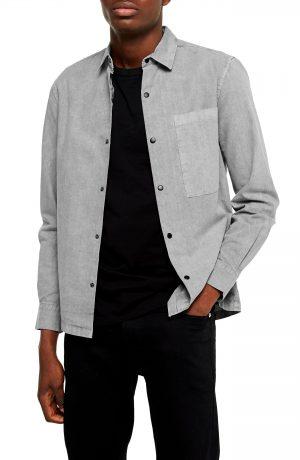 Men's Topman Slim Fit Snap Front Shirt, Size Small - Grey
