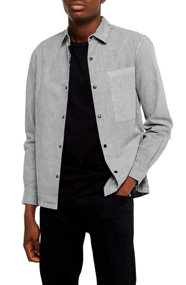 Men's Topman Slim Fit Snap Front Shirt, Size Small - Grey
