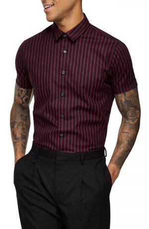 Men's Topman Slim Fit Stripe Short Sleeve Button-Up Shirt, Size X-Small - Burgundy