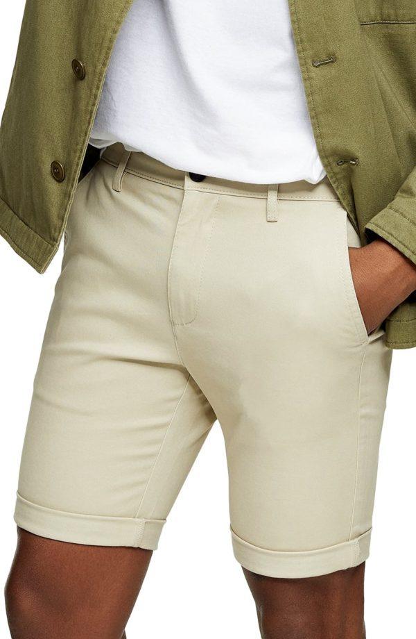 Men's Topman Stretch Skinny Chino Shorts, Size 28 - Beige