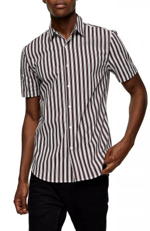 Men's Topman Stripe Short Sleeve Button-Up Shirt, Size Large - Burgundy