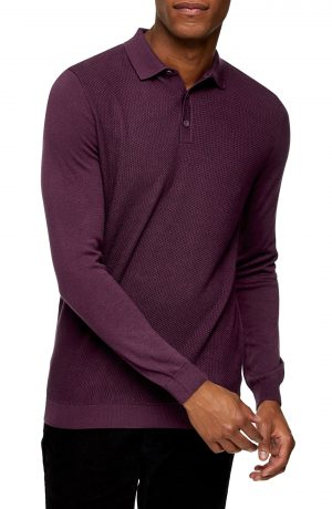 Men's Topman Texture Block Polo Sweater, Size Large - Burgundy