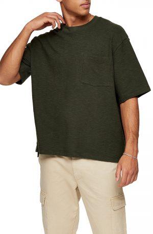 Men's Topman Textured Oversize Pocket T-Shirt, Size Large - Green