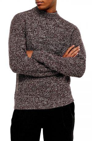 Men's Topman Twist Mock Neck Sweater, Size Large - Burgundy