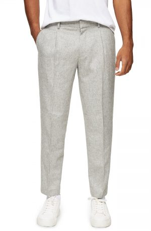 Men's Topman Warm Handle Smart Tapered Trousers, Size 30 x 32 - Grey
