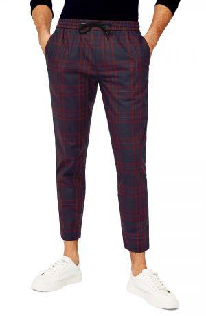 Men's Topman Whaytt Check Stretch Skinny Pants, Size 32 x 34 - Burgundy