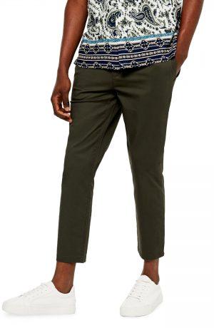 Men's Topman Whyatt Skinny Fit Crop Drawstring Pants, Size 30 x 32 - Green