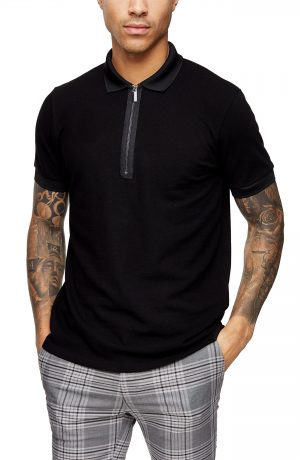 Men's Topman Zip Pique Polo, Size Small - Black