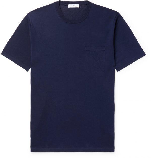 Mr P. - Knitted Cotton T-Shirt - Men - Blue