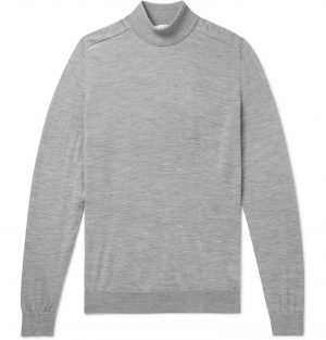 Mr P. - Mélange Merino Wool Mock-Neck Sweater - Men - Gray