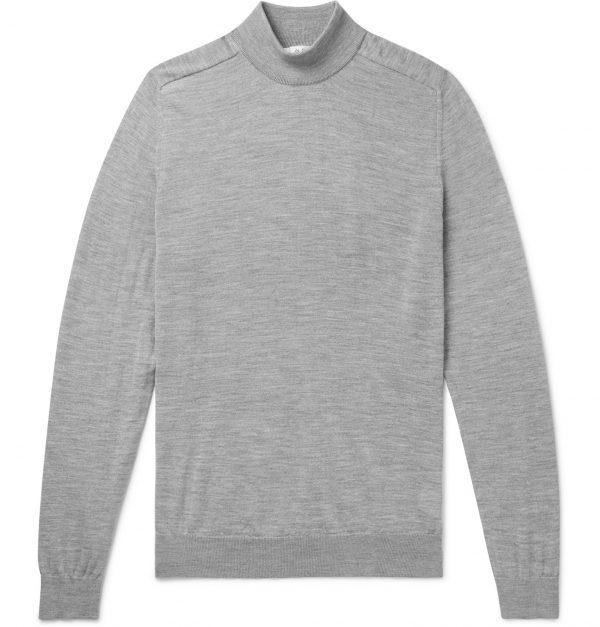 Mr P. - Mélange Merino Wool Mock-Neck Sweater - Men - Gray