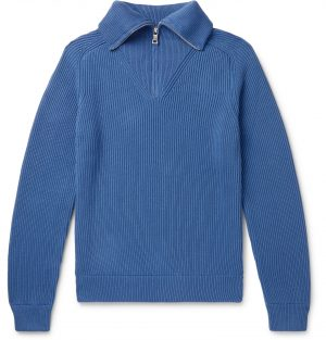 Mr P. - Ribbed Cotton Half-Zip Sweater - Men - Blue