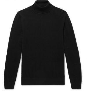 Mr P. - Slim-Fit Merino Wool Rollneck Sweater - Men - Black