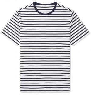 Mr P. - Striped Cotton-Jersey T-Shirt - Men - Blue