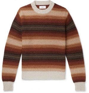 Mr P. - Striped Knitted Sweater - Men - Brown