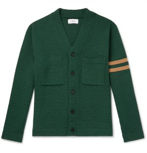 Mr P. - Striped Merino Wool Cardigan - Men - Green