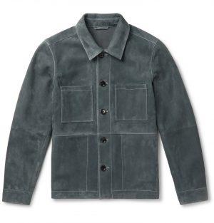 Mr P. - Suede Utility Jacket - Men - Gray
