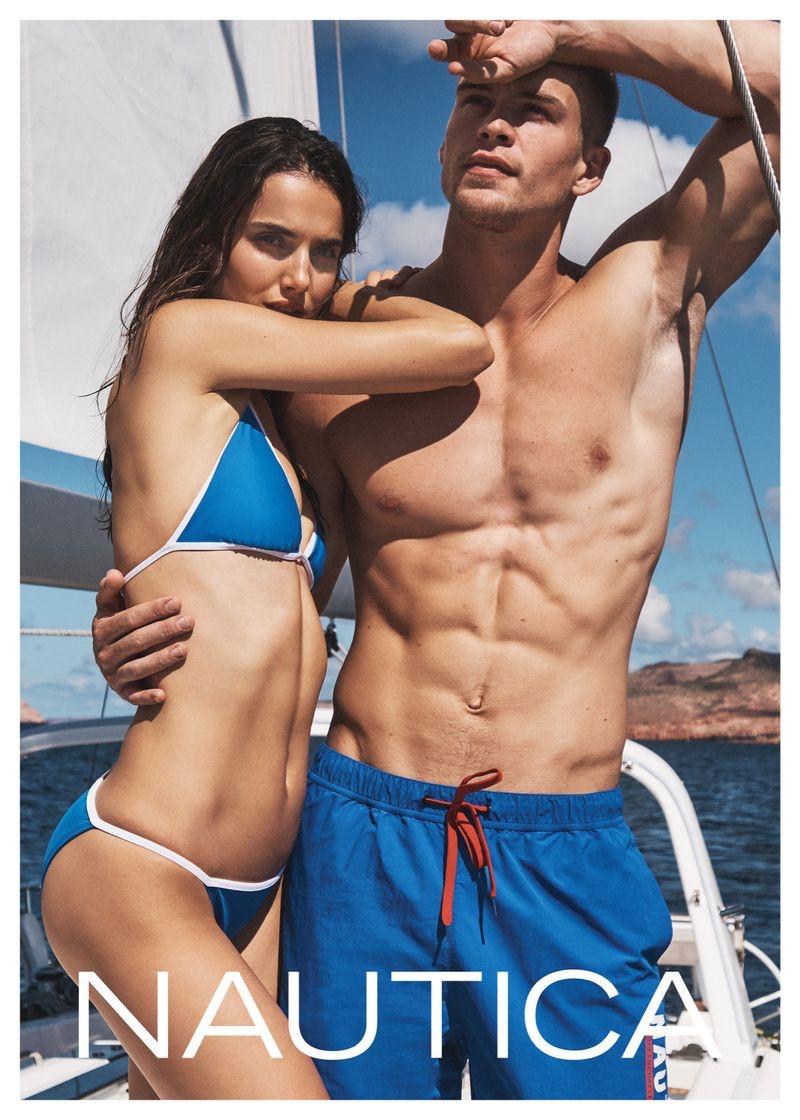Blanca Padilla and Mitchell Slaggert front Nautica's spring-summer 2020 campaign.