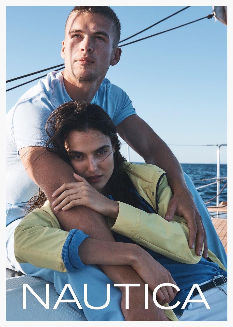 Models Blanca Padilla and Mitchell Slaggert star in Nautica's spring-summer 2020 campaign.