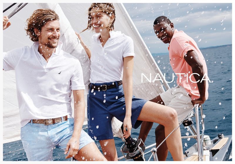 Wouter Peelen, Cato Van ee, and Dominique Hollington appear in Nautica's spring-summer 2020 campaign.