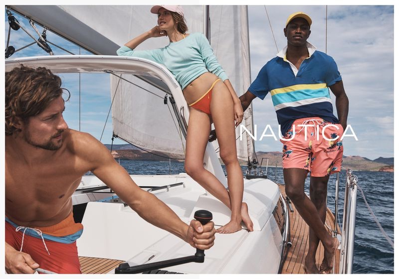 Benny Horne photographs Wouter Peelen, Cato Van ee, and Dominique Hollington for Nautica's spring-summer 2020 campaign.