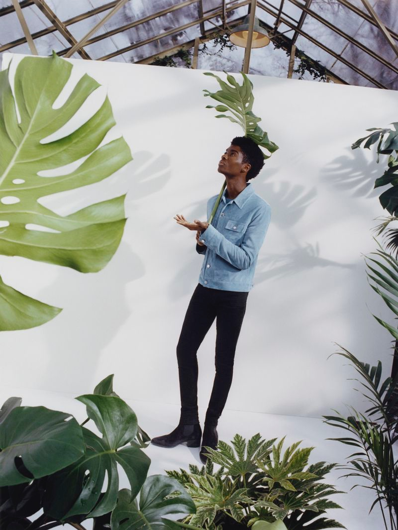 Connecting with Nordstrom for spring, Alton Mason models an AMIRI look.