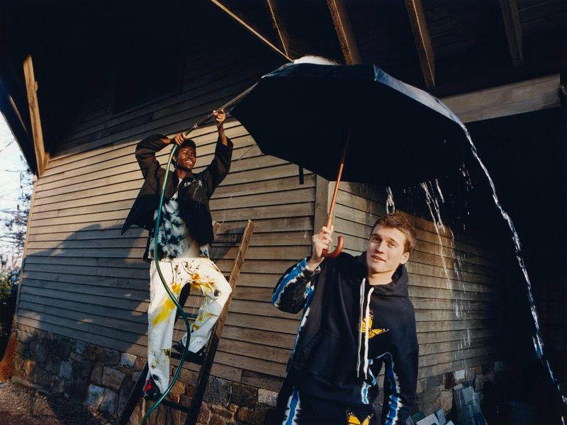 Models Alton Mason and Hamish Frew wear Off-White and Palm Angels for Nordstrom.