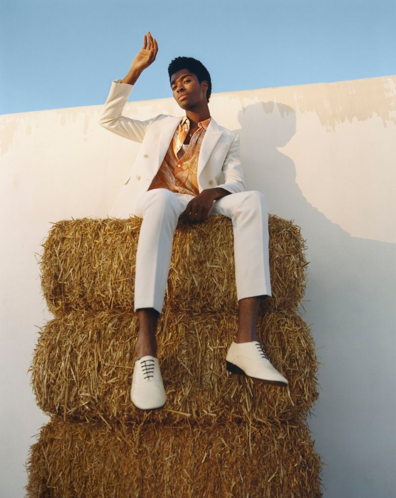 Alton Mason sports a spring look from Saint Laurent for Nordstrom.