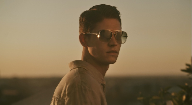 Hero Fiennes-Tiffin sports shades as he stars in Oliver Peoples' spring-summer 2020 campaign.