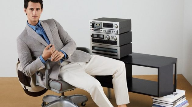 Garrett Neff hits the office in smart styles from Pedro del Hierro.